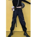 Black Casual Drawstring Waist Utility Cuffed Ankle Length Oversize Cargo Pants for Girls