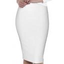 Women's Stretchy Elastic Zipped Mid-calf Bodycon Pencil Skirt