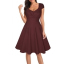 Hot Fashion Basic Plain V Neck Short Sleeve Chic Buttons Down Midi Fit Flare Dress
