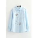 Formal Womens Cat Embroidery Long Sleeve Point Collar Button Up Loose Fit Shirt Top