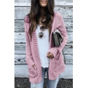 Casual Womens Solid Color Open Front Two-Pocket Long Sleeve Loose  Tunic Knit Cardigan Sweater Coat