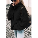 Fashionable Womens Plain High Neck Full Sleeve Relaxed Knitted Pullover Sweater Top