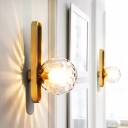 1 Head Wall Sconce Lighting Modern Bedside Wall Mounted Light with Ball Clear Dimpled/White Glass Shade in Gold
