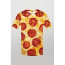 Retro Mens 3D Tee Top Sausage Pizza Pattern Short Sleeve Round Neck Slim Fitted Tee Top