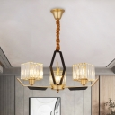 Gold Cubic Chandelier Lamp Modern Style 3/6/8-Light Clear Crystal Hanging Ceiling Light with Metal Arm
