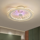 Kids Floral Ceiling Fan Lamp Metal LED Bedroom Semi-Flush Mount Light in Clear, 20