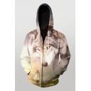 Mens 3D Hooded Sweatshirt Creative Wolf Figure Horse Printed Zipper Fly Cuffed Long Sleeve Slim Fit Hooded Sweatshirt