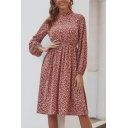 Pretty Ditsy Floral Printed Long Sleeve Crew Neck Mid Pleated A-line Dress in Red