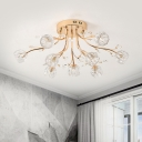 Gold Ball Semi Flush Mount Light Contemporary 9 Lights Clear Crystal Ceiling Lighting for Bedroom