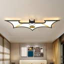 Black/Blue LED Bat Ceiling Flush Cartoon Acrylic Flush Mount Lamp Fixture in Warm/White Light