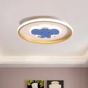 LED Baby Room Ceiling Mounted Light Cartoon Blue Flush Lamp with Airplane/Elephant/Fish Metallic Shade
