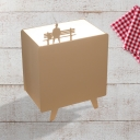 1 Light White Cuboid Table Lamp Minimalist Metallic Task Lighting with Cat/Bird/Man Design