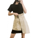 Round Neck Short Sleeve Mini T-Shirt Dress with Belted Asymmetric Skirt Co-ords