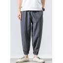 Mens Summer Simple Plain Drawstring-Waist Casual Loose Comfort Linen Carrot Fit Harem Pants Tapered Pants