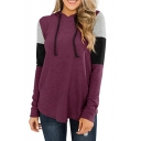Casual Contrasted Long Sleeve Drawstring Relaxed Fit Hoodie for Women