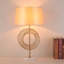 Drum Fabric Reading Book Light Colonial LED Study Room Table Lamp in Gold with Marble Base