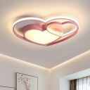 Nordic LED Flush Mount Fixture White/Pink Loving Heart Ceiling Light with Acrylic Shade for Bedroom