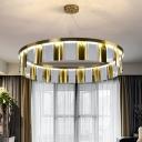 Gold Circular Chandelier Pendant Light Post-Modern Crystal Living Room LED Ceiling Lamp