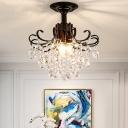 3-Bulb Crystal Chain Semi Flush Modern Style Black Swirling Foyer Ceiling Mounted Lamp