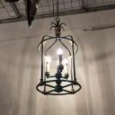 Iron Black-Gold Chandelier Pendant Birdcage 3-Head Countryside Hanging Light Fixture