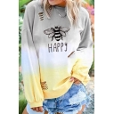 Lovely Cat Face Letter CAT MOM Printed Long Sleeve Relaxed Fit Ombre Sweatshirt