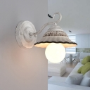 Scalloped Cone Ceramics Wall Light Antiqued 1 Head Corner Wall Mounted Lamp Fixture in Distressed White