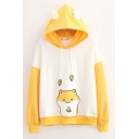 Fashionable Girls Hamster Printed Contrasted Long Sleeve Drawstring Loose Fit Hoodie