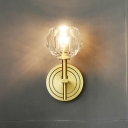 Postmodern Ball Wall Lamp 1/2-Light Beveled Crystal Wall Mount Lighting in Gold for Dining Room