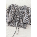 Vintage Womens Checkered Plaid Ruched Drawstring Zip Back Crew Neck Short Puff Sleeve Slim Fit Crop Shirt