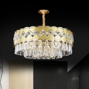 Gold 9 Lights Pendant Lighting Postmodern Crystal Triangle Drum-Shaped Chandelier, 19.5