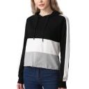 Trendy Colorblock Drawstring Hem Long Sleeve Casual Loose Black Short Hoodie