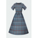 Classic Plaid Print Pleated Drawstring Round Neck Short Sleeve Midi A-Line Dress for Womens