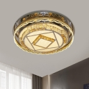 Nickel LED Flush Light Fixture Modern Crystal Round Close to Ceiling Lighting for Bedroom