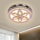 Flower Patterned LED Flushmount Modern Stainless Steel Inserted Crystal Flush Ceiling Light Fixture