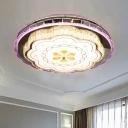 Floral Bedroom Ceiling Flush Light Modern Crystal Stainless Steel LED Flush Mount Lighting