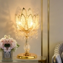 Clear Crystal Lotus Table Lamp Traditional 3 Bulbs Living Room Night Stand Light in Brass