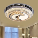 Cut Crystal Star and Moon Flush Mount Light Modern Style LED Ceiling Mounted Fixture in Stainless-Steel