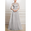 Gray Novelty Womens Solid Color Hollow Out Lace Zip Back Round Neck 3/4 Sleeve Long Fit&Flare Gown