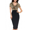 Sexy Ladies Leopard Printing String Selvedge Patchwork Deep V Neck Short Sleeve Fitted Midi Bodycon Dress in Black