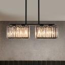 Modern Cuboid Island Ceiling Light Rectangle-Cut Crystal 4/6/8-Head Suspension Lamp in Black