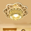 Modern Floral LED Close to Ceiling Light Clear Crystal Flushmount in Red/Warm/Multicolored Light for Hallway