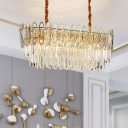 10 Heads Parlor Down Lighting Contemporary Gold Island Light with Oval Clear Crystal Glass Shade
