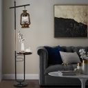 Black/White Kerosene Floor Lamp Industrial Clear Glass Single Living Room Standing Light with Side Table