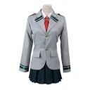 Preppy Girls Gray Striped Long Sleeve Lapel Neck Button-up Flap Pockets Fit Blazer Shirt Mini Pleated Skirt Co-ords with Red Tie