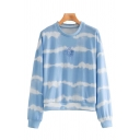 Fashionable Tie Dye Printed Sun Emboridered Long Sleeve Crew Neck Loose Pullover Sweatshirt in Blue