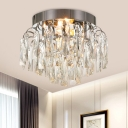 Rectangle-Cut Crystal Rain Flushmount Modern 2-Bulb Close to Ceiling Lighting Fixture in Nickel/Gold