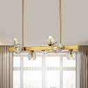 Faceted Crystal Balls Globe Island Light Modern 7-Head Gold Suspended Lighting Fixture for Kitchen