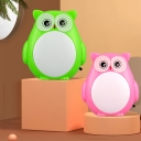 Plastic Owl Small Plug-in Night Lamp Cartoon Red/Green LED Wall Light for Kids Bedroom