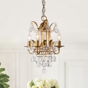 Antiqued Candle Pendant Lighting 4 Bulbs Metal Hanging Chandelier in Gold with Crystal Draping