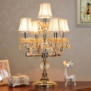 5 Heads Bell Shaped Night Lighting Retro Style Gold Finish Fabric Table Lamp with Crystal Accent